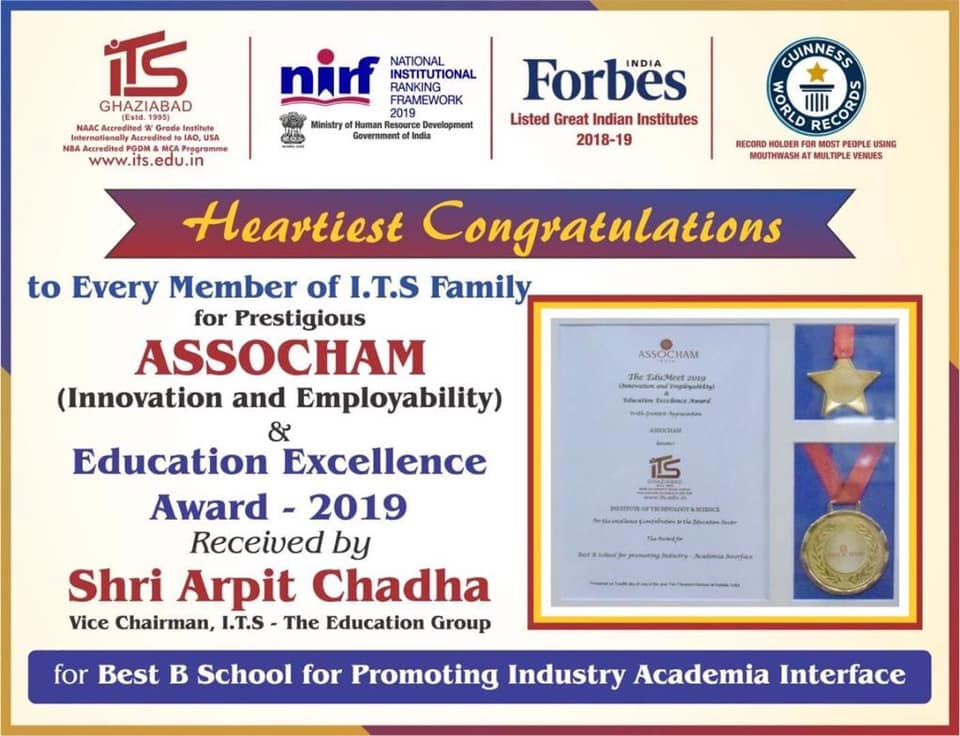 "I.T.S Ghaziabad awarded for ""BEST B SCHOOL For PROMOTING INDUSTRY ACADEMIA INTERFACE"""