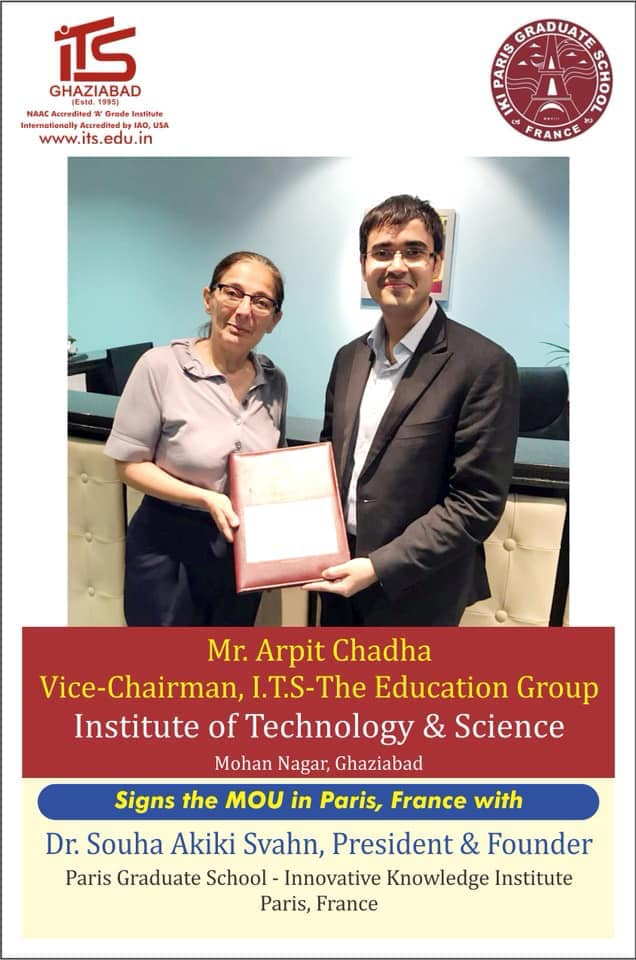 I.T.S - The Education Group Signed MOU with Dr. Souha Akiki Svahn, President and Founder Paris Graduate school- Innovative Knowledge Institute Paris, France.