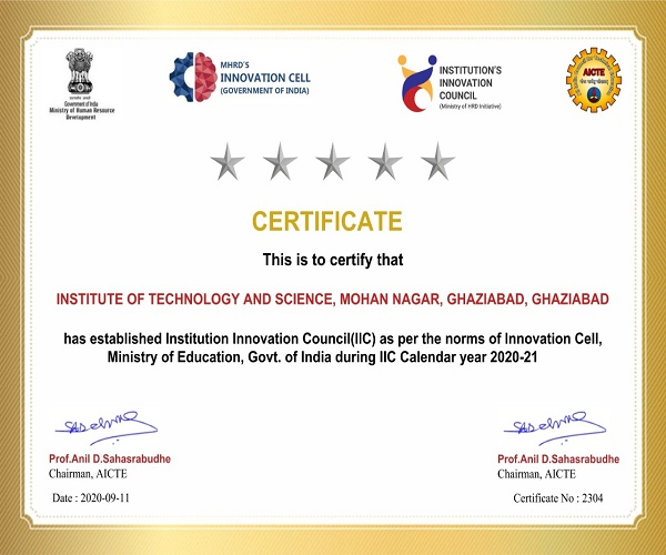 Institution  Innovation Council-IIC of ITS was granted  renewal for academic year 2020-21 by the Innovation Cell, Ministry of Education, Govt. Of India.